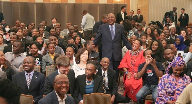 President Uhuru Kenyatta with the Kenyan diaspora in Japan in 2015.