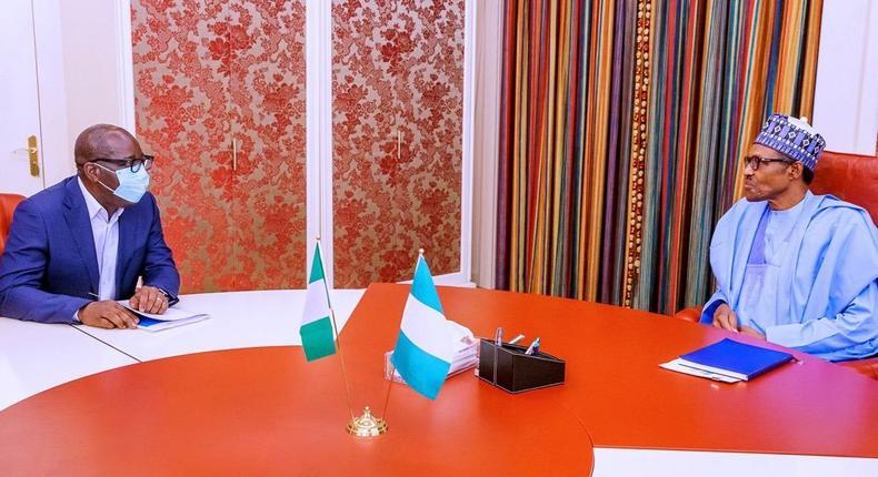 President Muhammadu Buhari and Edo state Governor, Godwin Obaseki. [Twitter/@BashirAhmaad]