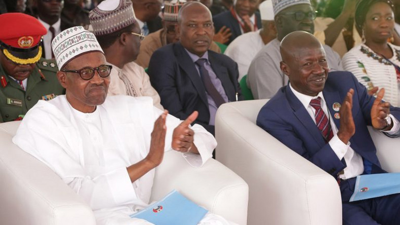 President Muhammadu Buhari with suspended acting chairman of EFCC , Ibrahim Magu.  [Igberetv]