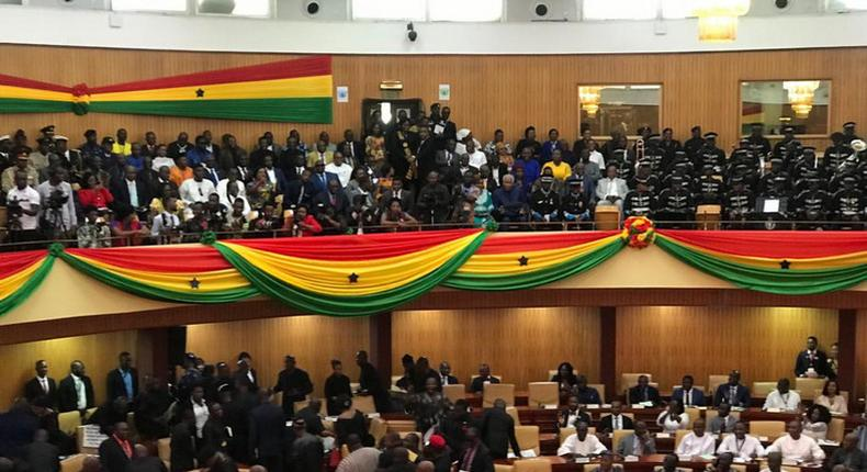 Ghana's SONA 2020: Minority in 'Black' walks out of Parliament, Majority in 'White' occupy minority seats to listen to the President