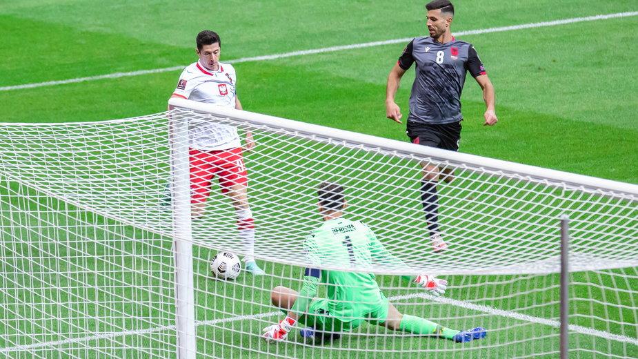 Robert Lewandowski w meczu z Albanią