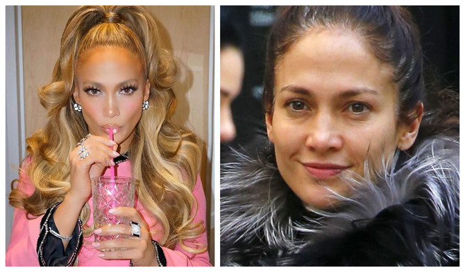 Dženifer Lopez sa šminkom i bez šminke