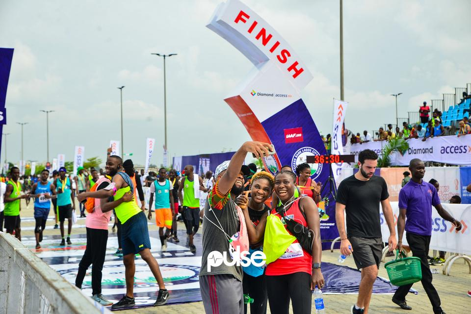 Athletes get to the finish line at Access Bank Lagos City Marathon 2019