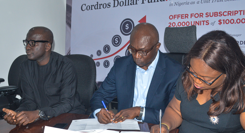 Management of Cordros capital at the signing ceremony of the proposed Dollar Fund