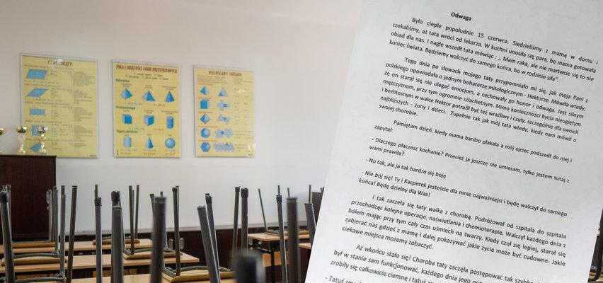 Praca domowa 13-letniego ucznia wyciska łzy. Tak opisał swojego tatę, który zmarł na raka