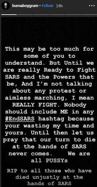 Find out why Burna Boy says he is not joining the #EndSARS campaign [Instagram/BurnaBoyGram]
