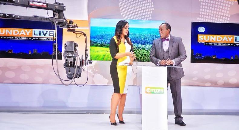 Citizen TV co-anchors Victoria Rubadiri and Jeff Koinange during a past bulletin