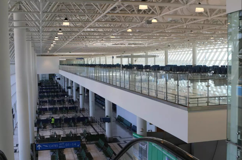 The newly expanded Addis Ababa Bole International Airport terminal, the biggest airport aviation hub in Africa.