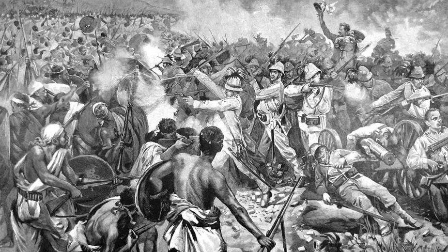 Brytyjska ilustracja przedstawiająca ostatnie chwile generała Dabormidy (domena publiczna)