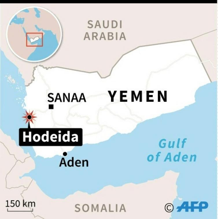 Map of Yemen locating Hodeida, where at least 32 rebels were killed, hospital and medical sources said