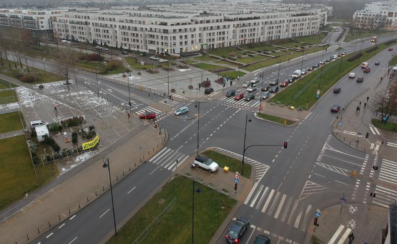 Miejsce kolizji na warszawskim Wilanowie