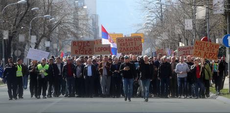 """Radnici """"Željezničara RS"""" su održali proteste 16. marta u Banjaluci"""