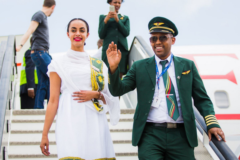 The Ethiopian Airlines pilot (right) and an air hostess disembark from the inaugural flight into Victoria Falls.
