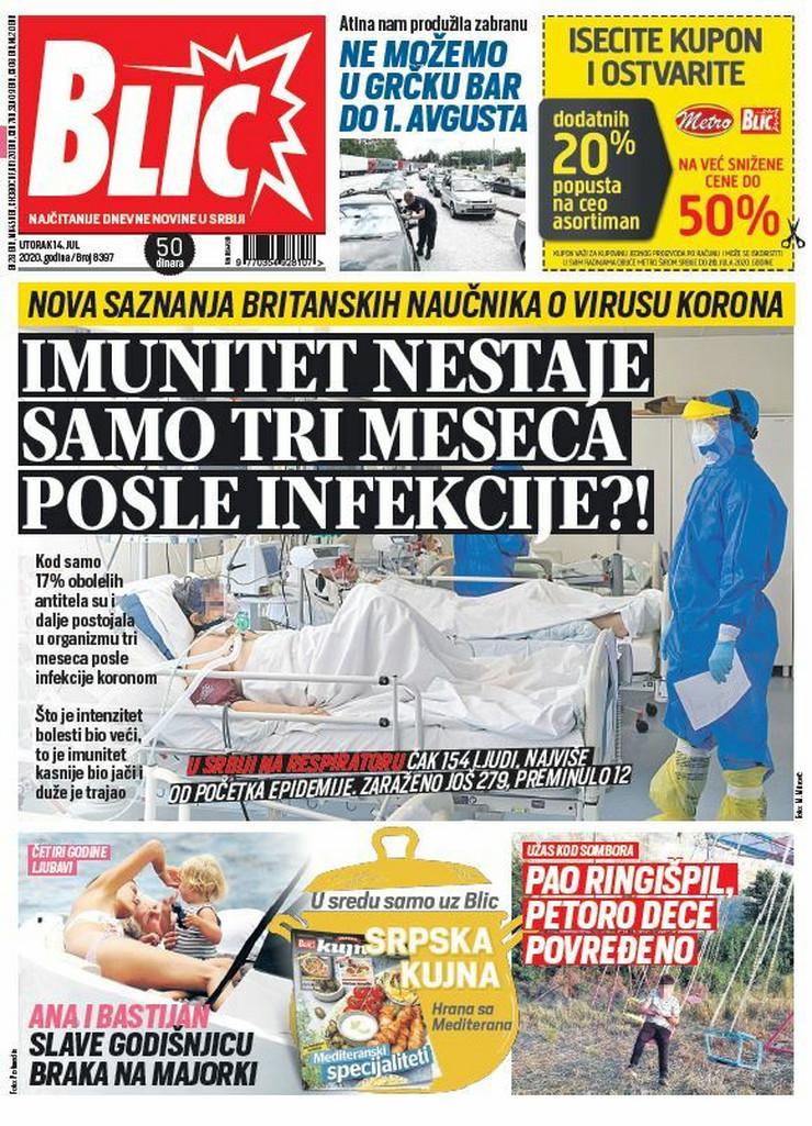 Blic, naslovna za 14.7.2020.