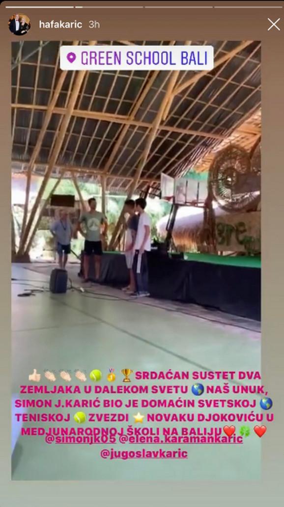 Novak Đoković na Baliju, u poseti Simonu Kariću