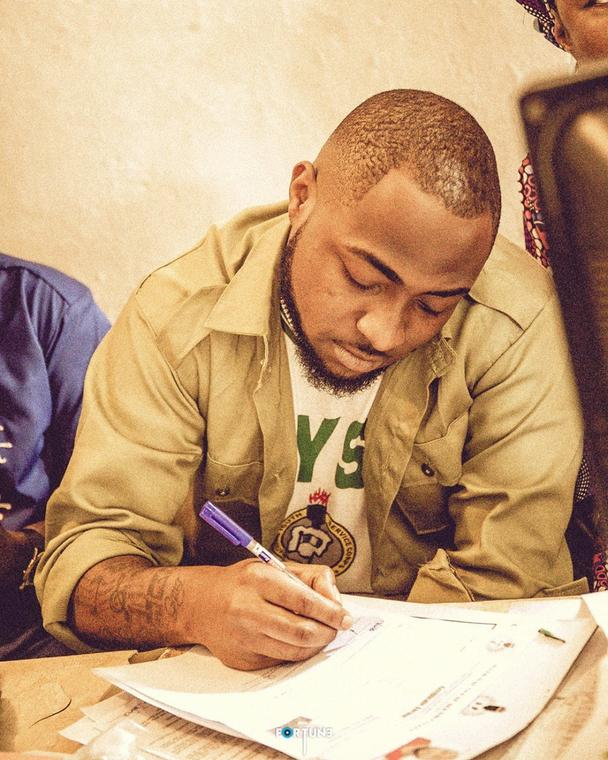 Davido joined other Nigerian graduates to take part in the mandatory one year service scheme