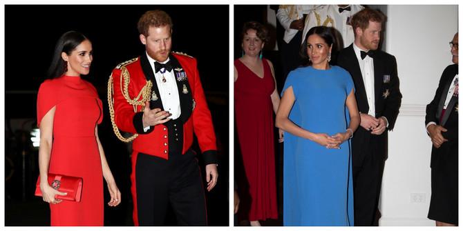 Megan Markl i princ Hari 2020. u Londonu i 2018. na Fidžiju
