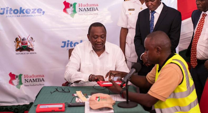 President Uhuru Kenyatta registering for Huduma Namba at the launch of the exercise