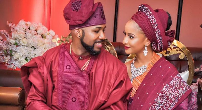 Banky W and Adesua Etomi rocking Burgundy as their families get formally introduced ahead of their wedding, May 6 2017
