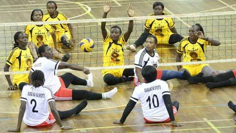 Players participating in the Kenya Sitting Volleyball