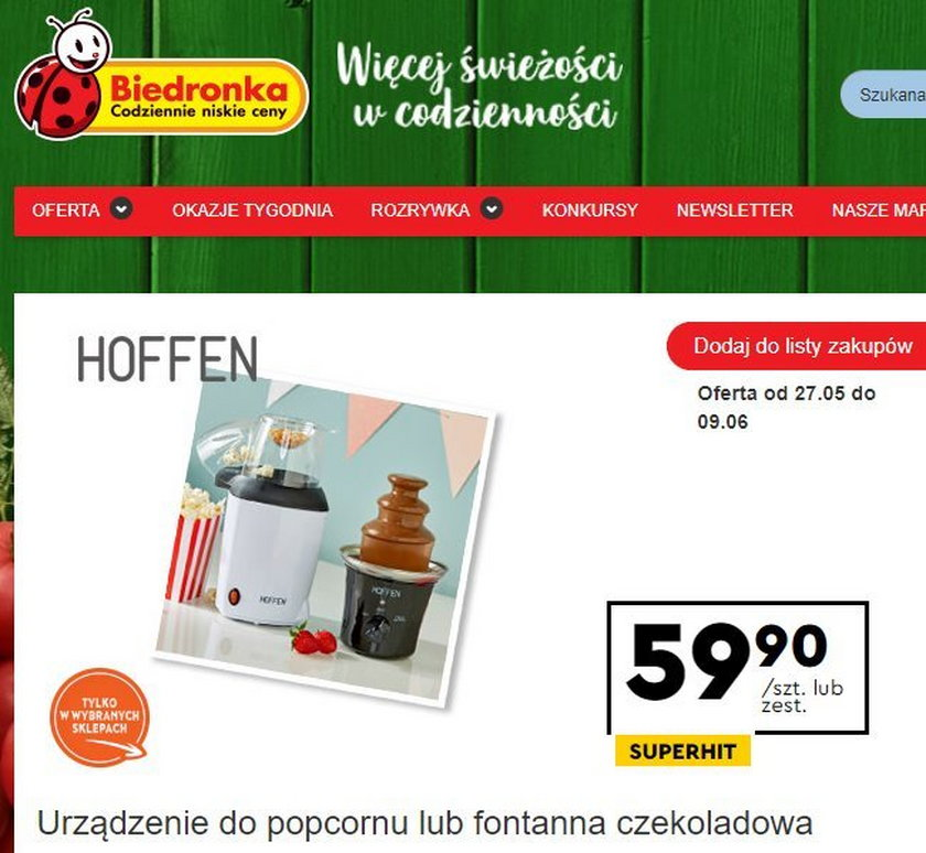 Urządzenie do popcornu i czekoladowa fontanna w Biedronce
