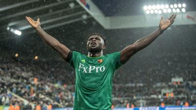 Super Eagles forward Isaac Success dances Zanku after winner for Watford in FA Cup  against Newcastle