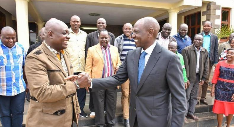 File image of MCAs meeting DP Ruto. A section of MCAs from Rift Valley have revealed a plot to ground the party