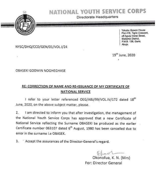 NYSC letter addressed to Godwin Obaseki [INEC]
