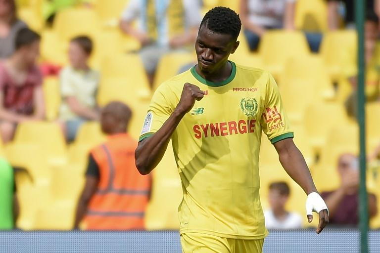 Nantes' Malian forward Coulibaly celebrates after scoring