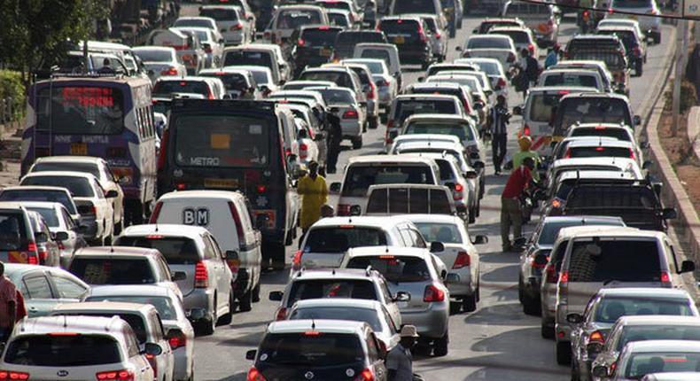 A traffic jam on University Way in Nairobi