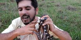 Miał w ustach węże i chodził po szkle. Po co?