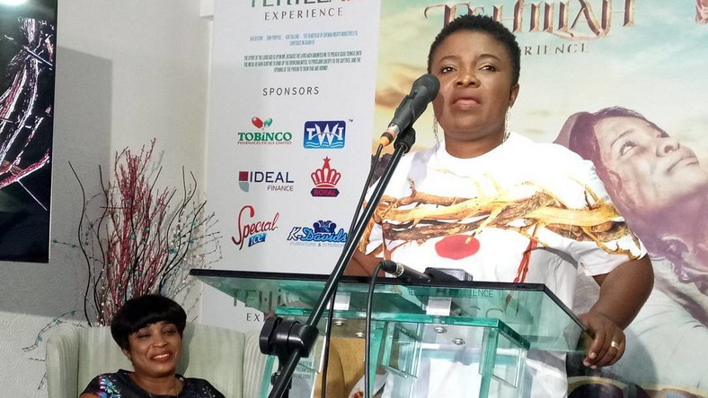 Ohemaa Mercy speaking at the launch of this year's Tehillah Experience