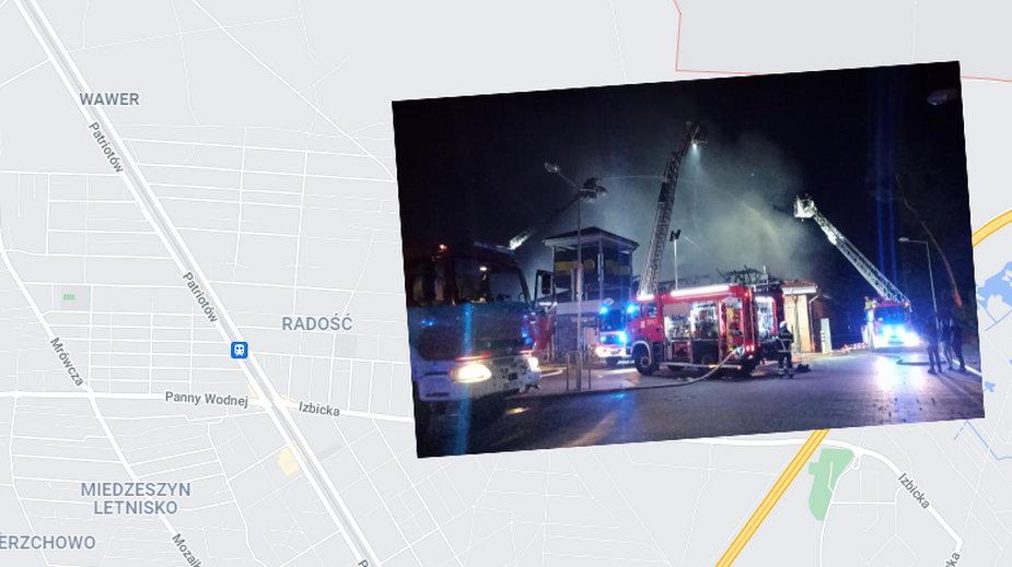 Pożar supermarketu Netto w Warszawie
