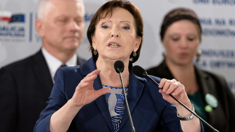 Była premier Ewa Kopacz, kandydatka PO do Europarlamentu przemawia podczas regionalnej konwencji Koalicji Europejskiej w Poznaniu