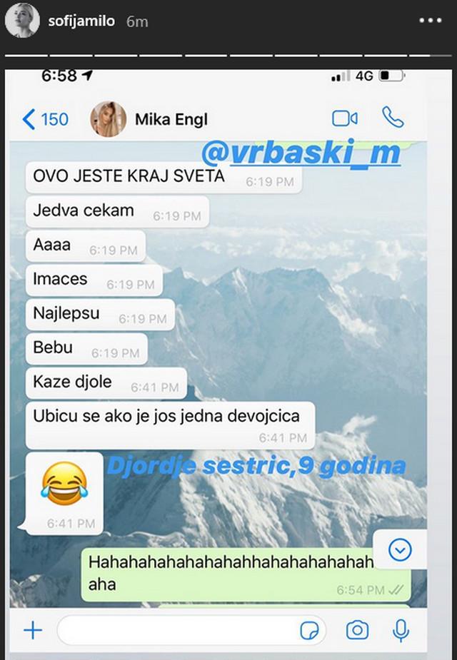 Sofija Milošević, komentari za bebu