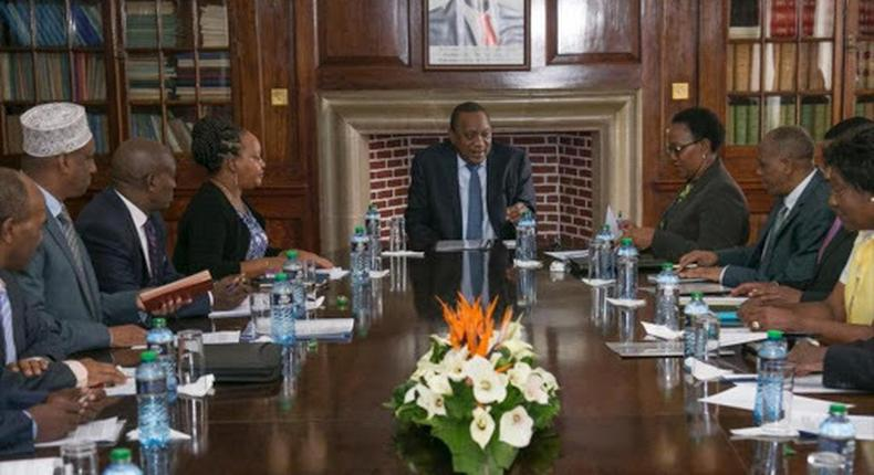 President Uhuru Kenyatta with 11 Governors including Mohamed Kuti of Isiolo (in white fez hat), Anne Waiguru of Kirinyaga, Kitui's Charity Ngilu and at State House in March 6, 2019.
