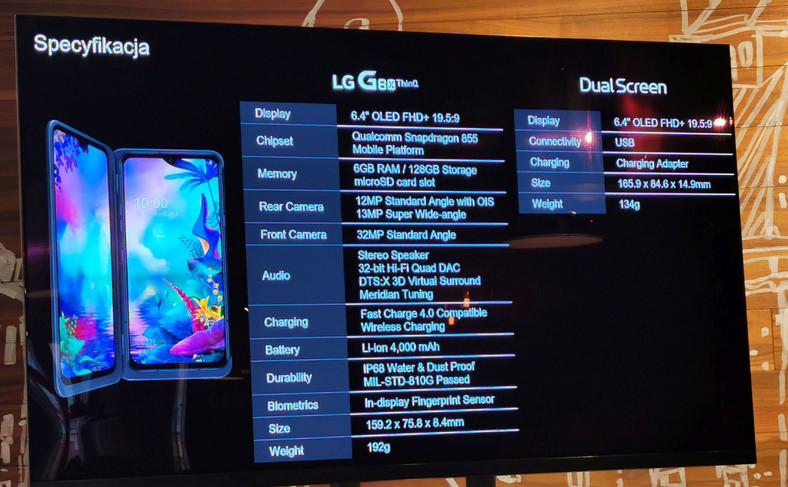 Specyfikacja LG G8X ThinQ