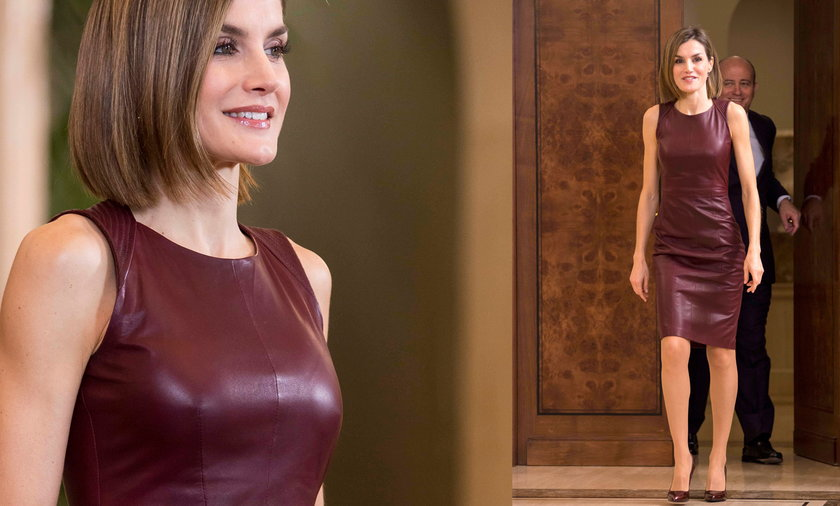 Królowa Letycja w skórzanej sukience
