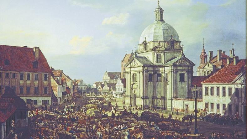 Kościół św. Kazimierza na rynku Nowego Miasta w Warszawie, obraz namalowany przez Bernardo Bellotto Canaletto