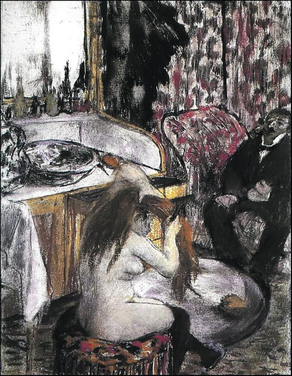 Edgar Dega, Naga žena češlja kosu, oko 1877/80