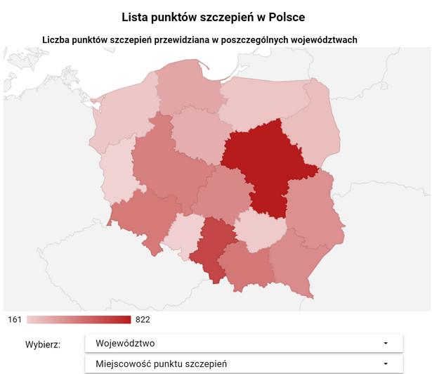 Interaktywny spis punktów szczepień na Covid-19 w województwach dostępny pod tekstem