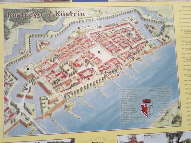 Plan starego Kostrzyna nad Odrą