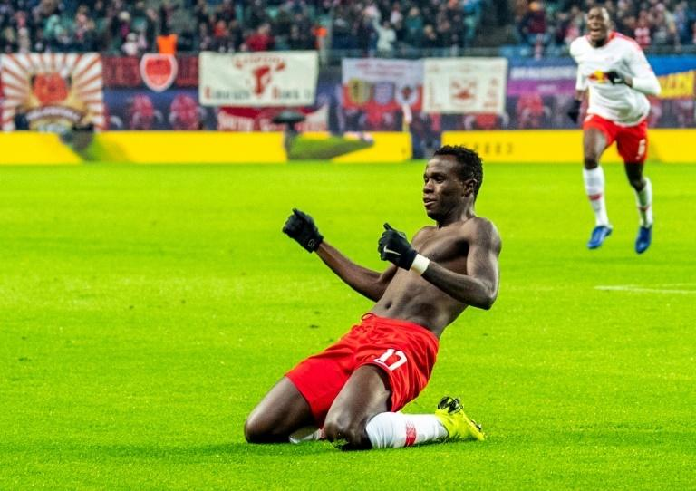 Portuguese forward Bruma celebrates scoring the late winner in RB Leipzig's 3-2 win at home to Werder Bremen on Saturday
