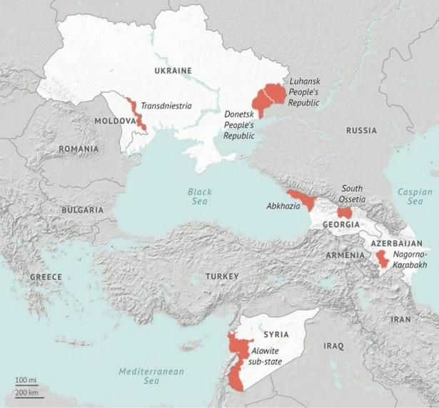 Quasipaństwa finansowane przez Rosję. Źródło: Stratfor