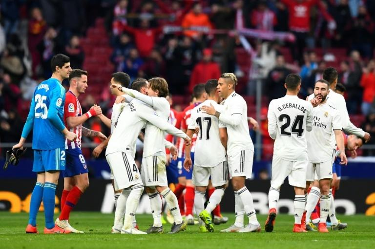 Real Madrid's players after beating Atletico