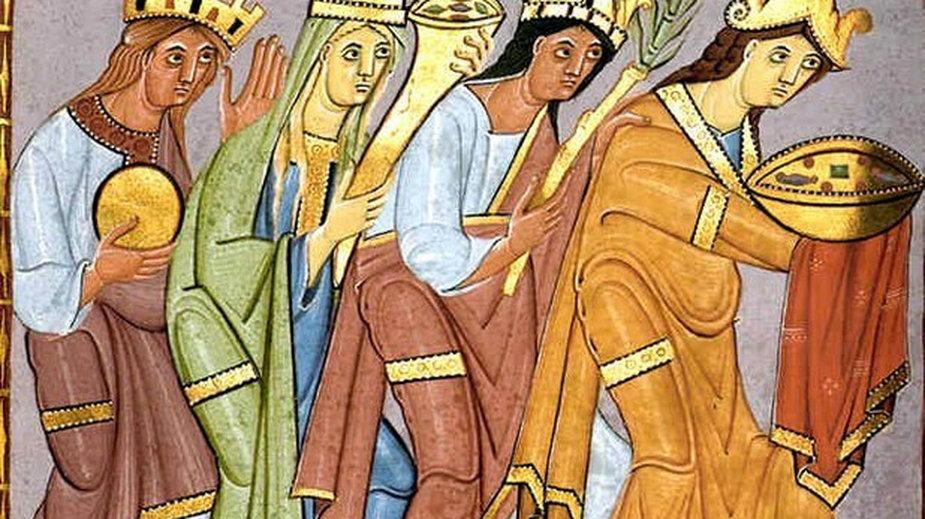 Sclavinia, Germania, Galia i Roma składają hołd Ottonowi III, fragment Ewangeliarza Ottona III z ok. 1000 roku - domena publiczna