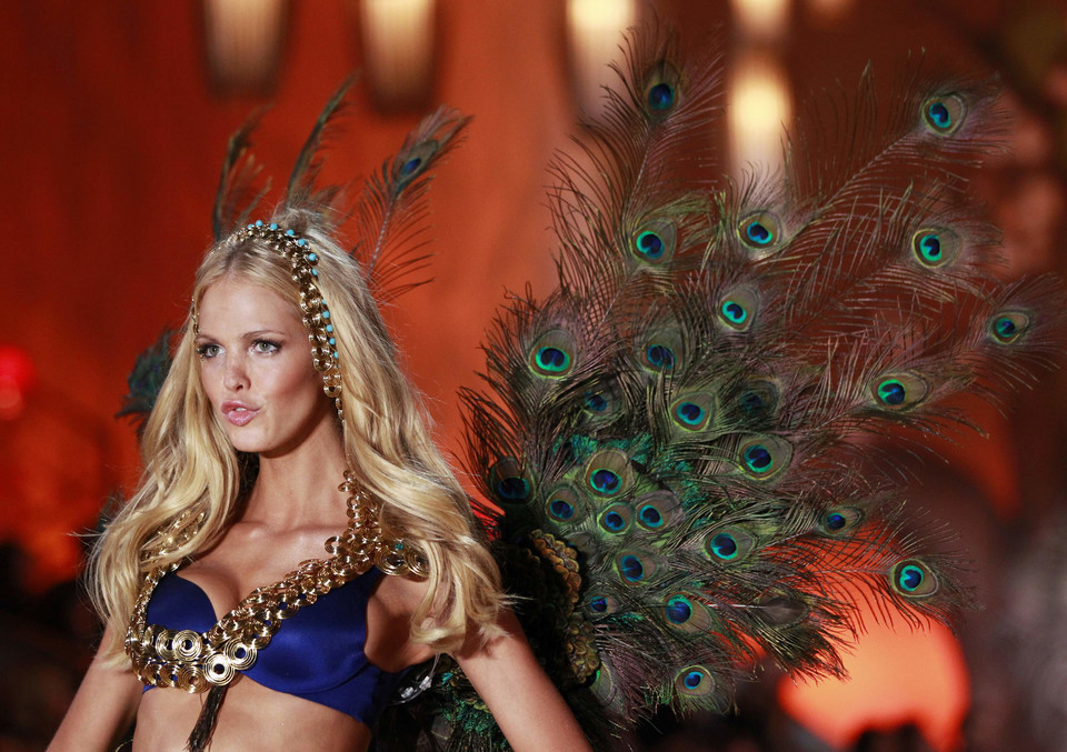 Model Erin Heatherton presents a creation during the Victoria's Secret Fashion Show in New York