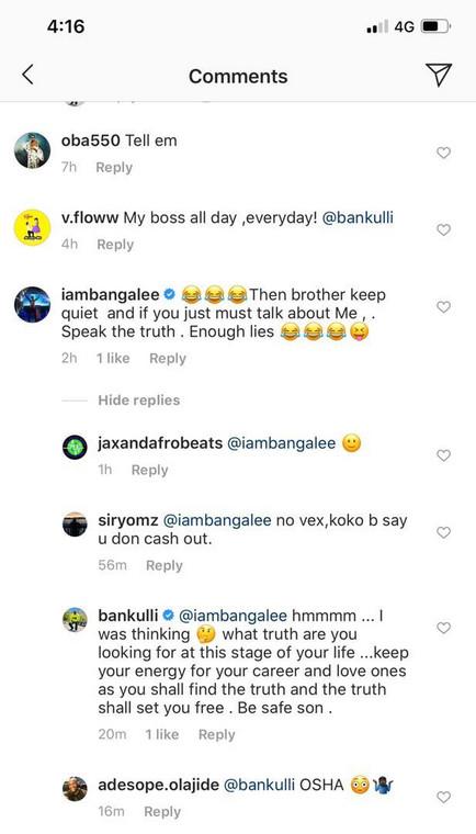 Bankulli fires back at D'Banj. (Instagram/PulseNigeria247)