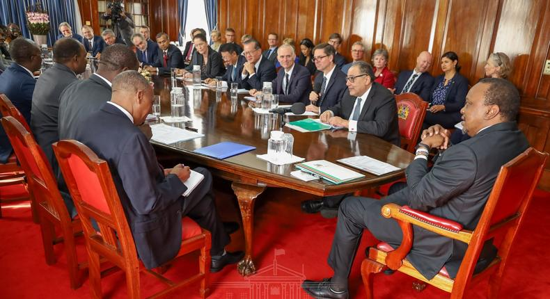 A file photo of President Uhuru Kenyatta meeting with World Bank officials earlier this year