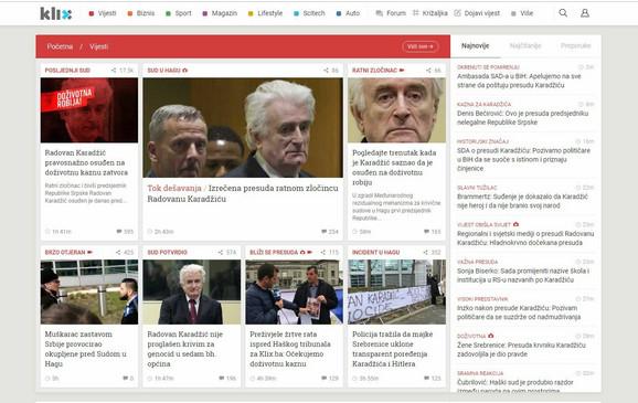 Klix.ba je veliki deo naslovne strane posvetio tekstovima o Karadžiću